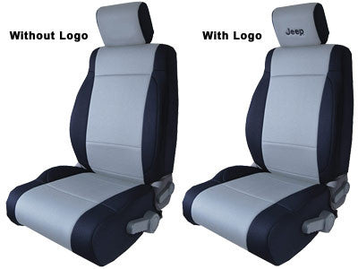CoverKing Seat Cover, Front Seat Covers, Black and Gray with Black Jeep logo, 2 Door ('03-'06 Wrangler TJ)