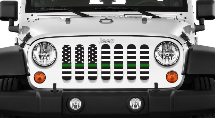 """American Black and White Thin Green Line"" Grille Insert by Dirty Acres ('76 - '18 Wrangler CJ, YJ, TJ, LJ, JK, JKU) - Jeep World"