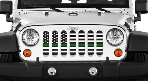 """American Black and White Thin Green Line"" Grille Insert by Dirty Acres ('76 - '19 Wrangler CJ, YJ, TJ, LJ, JK, JL)"