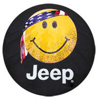 Mopar Jeep Smiley Face with American Flag Bandana with Scruffy Beard (Liberty KJ, Wrangler CJ, YJ, TJ, & JK)