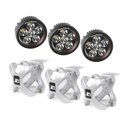 Rugged Ridge Three 2.25in.-3in. Silver X-Clamp & Three 3.5in. Round 18 Watt LED Light (Universal)