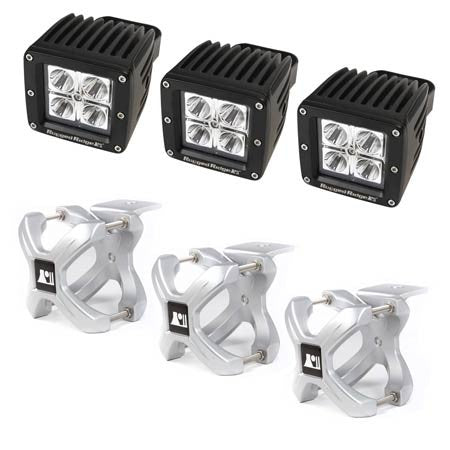 Rugged Ridge Three 2.25in.-3in. Silver X-Clamp & Three 3in. Square 16 Watt LED Light (Universal)
