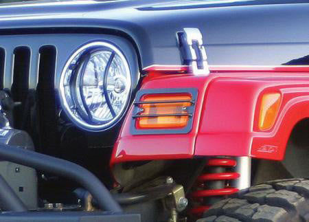 Rampage Black Signal Light Covers, 4 Piece Kit ('97-'06 Wrangler TJ)