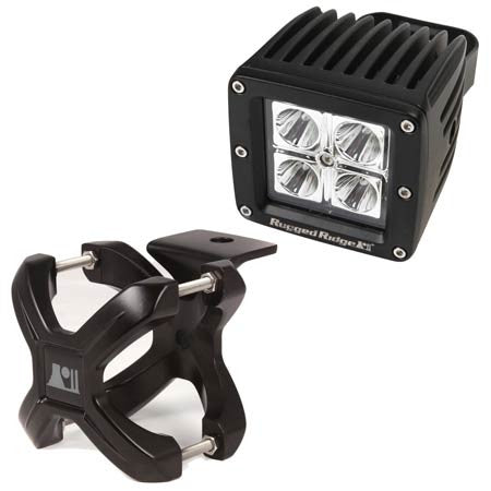 Rugged Ridge 2.25in.-3in. black X-Clamp & One 3in. Square 16 Watt LED Light (Universal)
