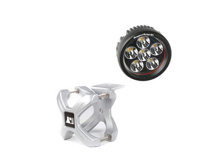 Rugged Ridge 2.25in.-3in. Silver X-Clamp & One 3.5in. Round 18 Watt LED Light (Universal)