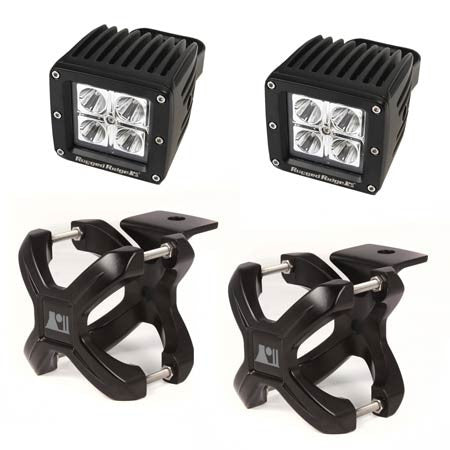 Rugged Ridge 2.25in.-3in. Black X-Clamp & Two 3in. Square 16 Watt LED Light (Universal)
