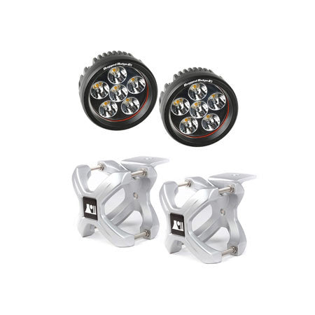 Rugged Ridge Two 2.25in.-3in. Silver X-Clamp & Two 3.5in. Round 18 Watt LED Light (Universal)