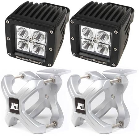 Rugged Ridge Two 2.25in.-3in. Silver X-Clamp & Two 3in. Square 16 Watt LED Light (Universal)