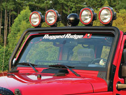 Rugged Ridge Windshield Frame Light Bar, Textured Black ('07-'18 Wrangler JK)