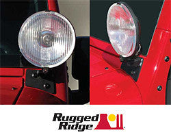 Rugged Ridge Windshield Mount Light Bracket Pair, Black ('07-'16 Wrangler JK)