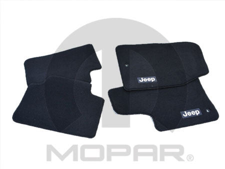 Mopar Floor Mats, 2 Piece, Black Premium Carpet w/Jeep Logo, 2 Door ('14-'18 Wrangler JK)