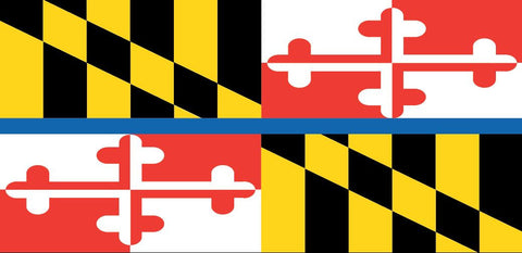 """Maryland Flag Back The Blue"" Jeep Grille Insert By Dirty Acres ('76-'19 Wrangler CJ, YJ, TJ, JK, JL)"