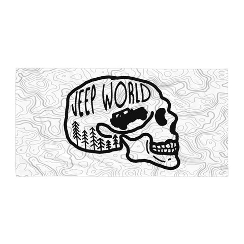 Jeep World Skull Towel, White