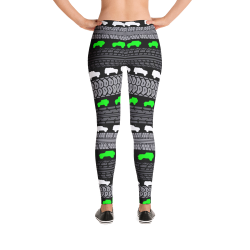 Tire Track Leggings, Neon Green