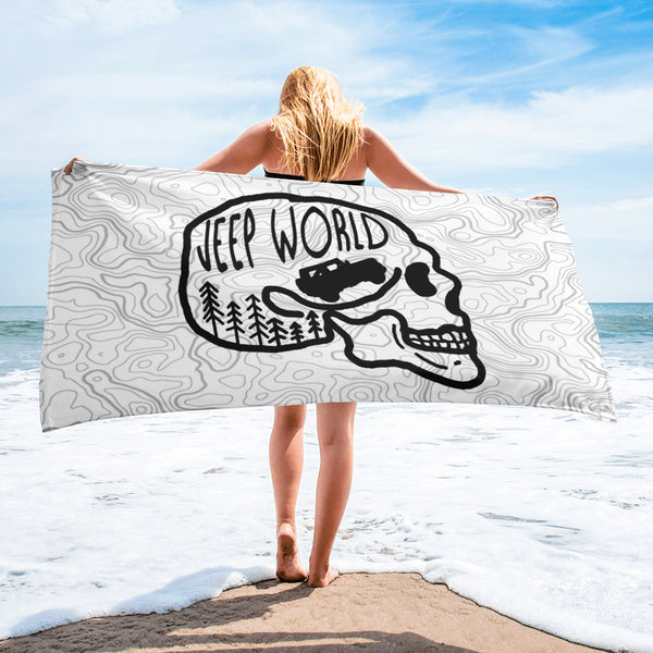 Jeep World Skull Towel White