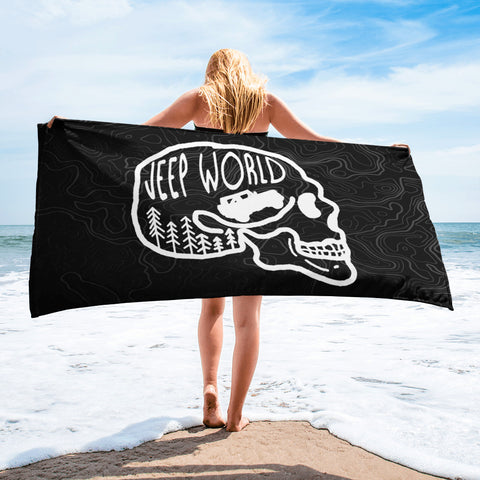 Jeep World Skull Beach Towel, Black