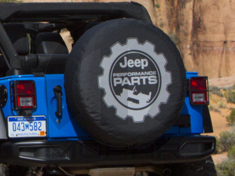 Jeep Performance Parts Black Denim Tire Cover ('07-'17 Wrangler JK, JKU)