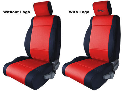 CoverKing Seat Front, Black and Red, with Black Jeep Logo ('03-'06 Wrangler TJ)