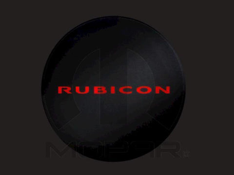 Red Rubicon Black Denim Tire Cover ('13-'18 Wrangler JK, JKU)