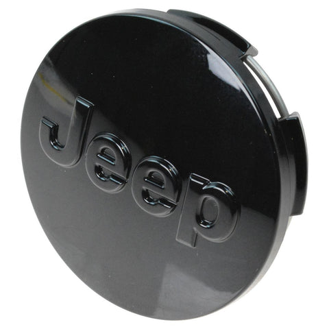 Mopar Wheel Center Cap, Black with Jeep Logo ('12-'18 Jeep Wrangler JK, JKU)