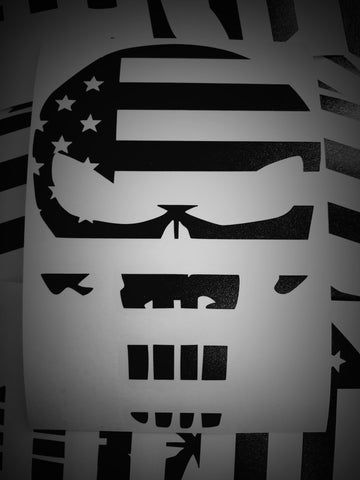 American Flag Skull Vinyl Decal
