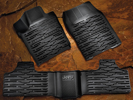 Rugged Ridge All-Terrain Floor Liners with Jeep Logo ('76-'95 Wrangler CJ, YJ)