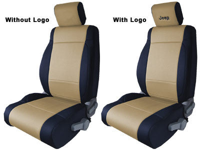 CoverKing Seat Cover, Front Seat Covers, Black and Tan with Black Jeep logo, 2 Door ('03-'06 Wrangler TJ)