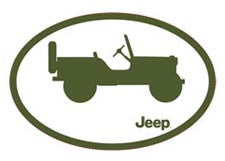 Willys Decal - Green Jeep Silhouette- Jeep World