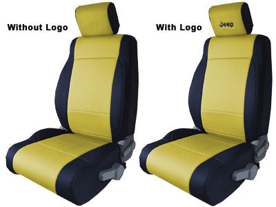 CoverKing Seat Cover, Front, Black and Yellow, With Black Jeep Logo, 2 Door ('03-'06 Wrangler TJ)
