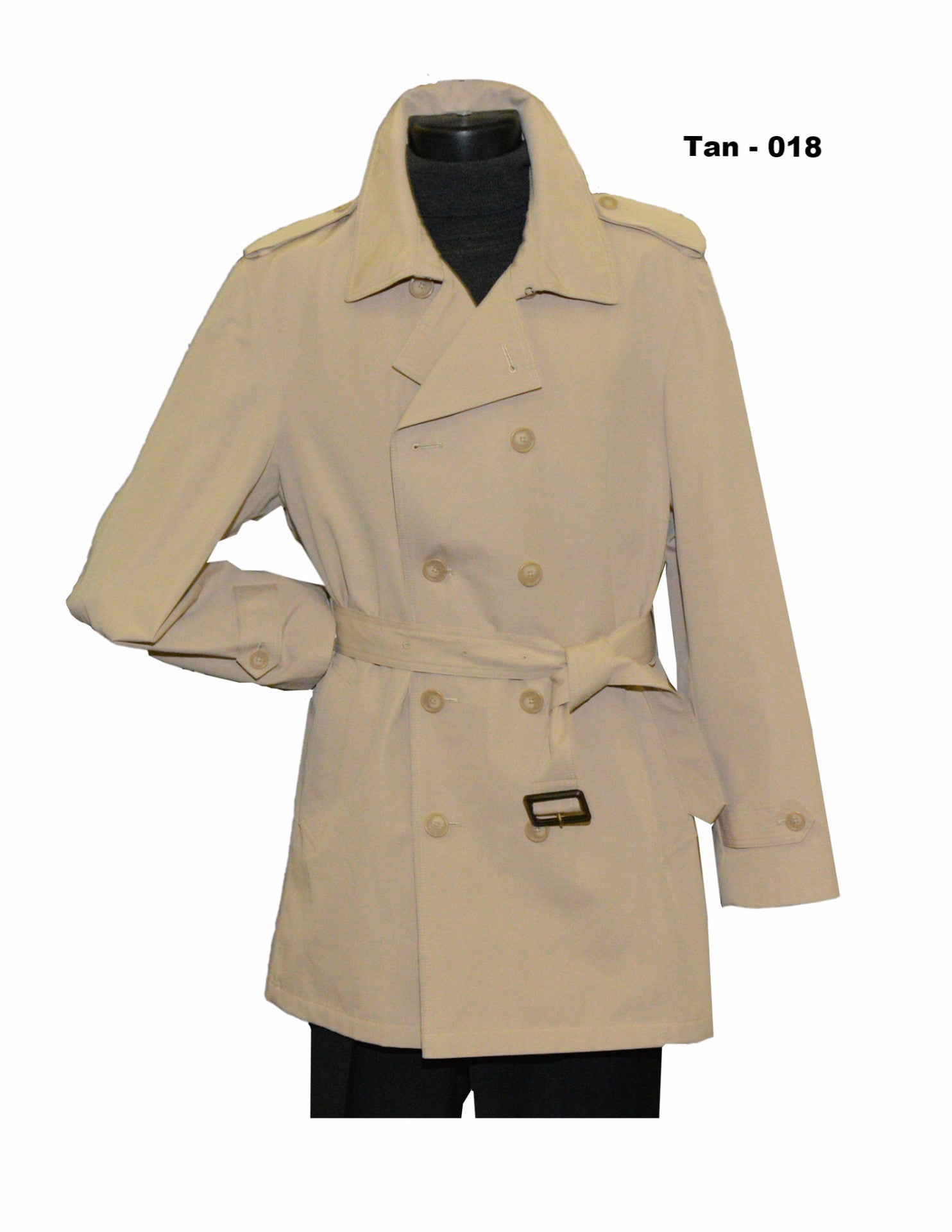 Tan double breasted 36 inch rain coat outerwear