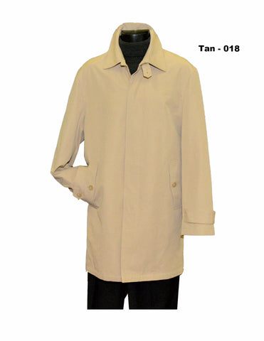 tan single breasted 36 inch length rain coat outerwear