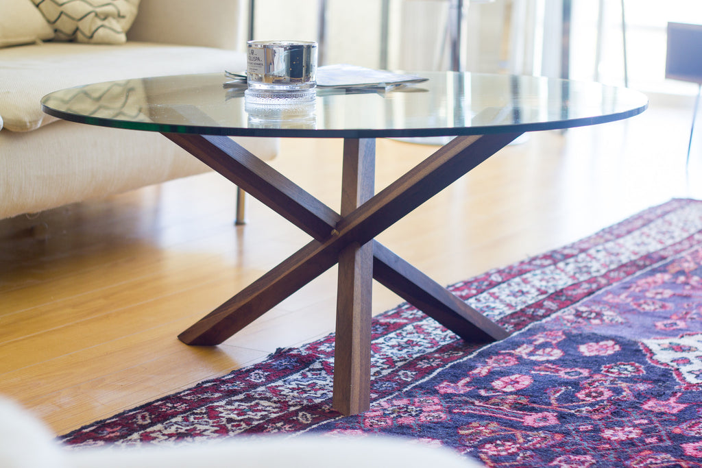 Modern Walnut and Brass Coffee Table