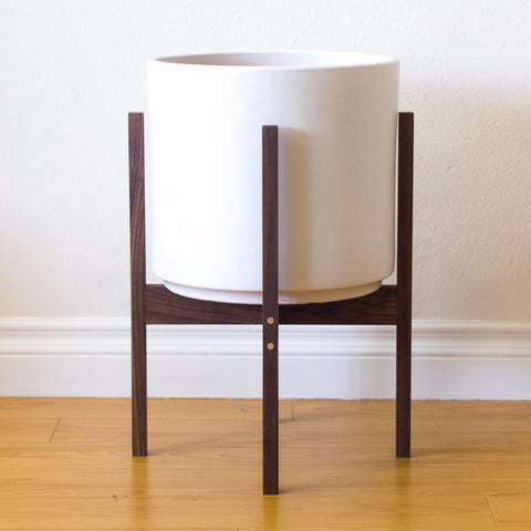 Modern Planter with Plant Stand in Walnut and Brass - Large - Object Modern