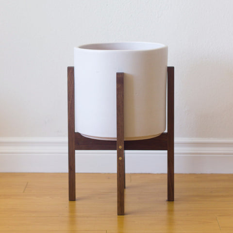 Modern Planter with Plant Stand in Walnut and Brass - Medium - Object Modern