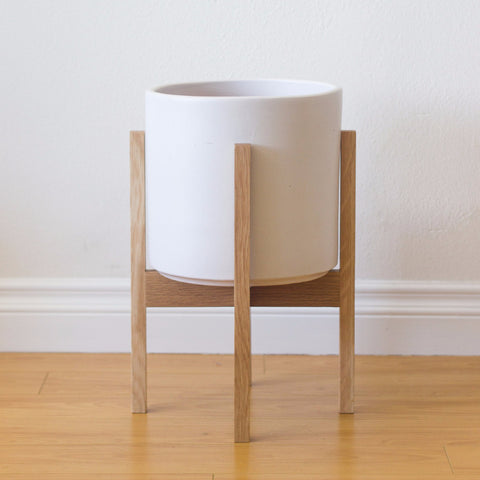 Modern Planter with Plant Stand in White Oak - Medium - Object Modern
