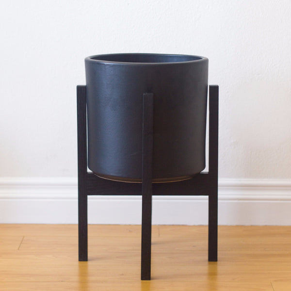 Modern Planter with Plant Stand in Ebonized White Oak - Medium - Object Modern