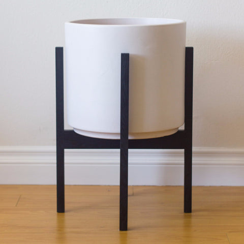 Modern Planter with Plant Stand in Ebonized White Oak - Large - Object Modern