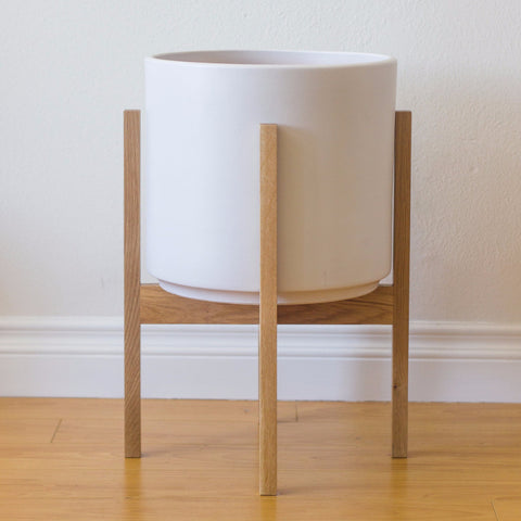 Modern Planter with Plant Stand in White Oak - Large - Object Modern