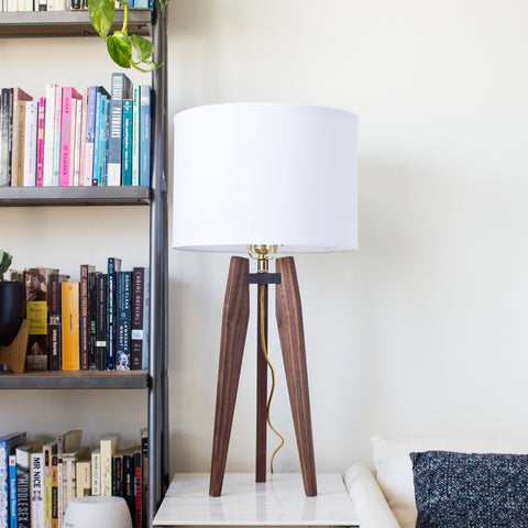 Modern Tripod Table Lamp in Solid Hardwood