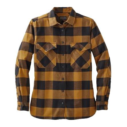 Double-Brushed Flannel Elbow Patch Shirt <br> Black Gold Buffalo Check