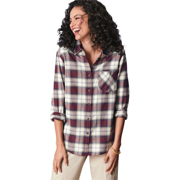 Boyfriend Flannel Shirt <br> Tan Ombré Multi Plaid