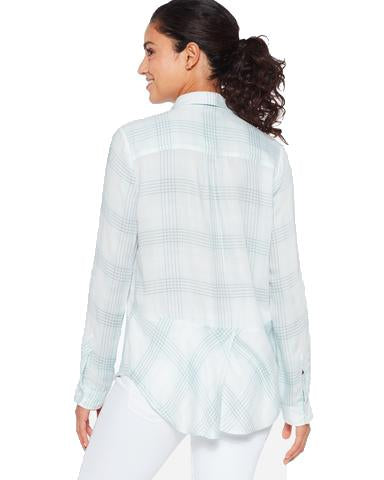 Plaid Roll Sleeve Soft Shirt <br> Pastel Blue Ombré