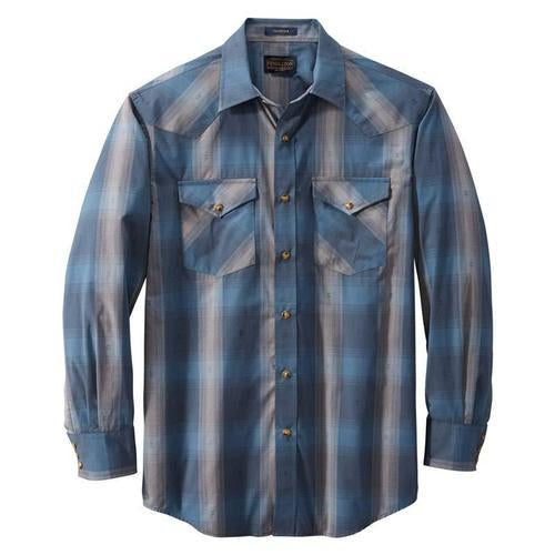 Long Sleeve Frontier Shirt <br> Blue/Grey Dobby Plaid