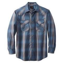Long Sleeve Frontier Shirt  Blue/Grey Dobby Plaid