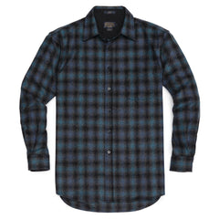 Fitted Lodge Shirt <br> Black & Blue Ombré