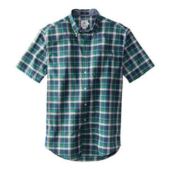 Short Sleeve Seaside Button Down Shirt  Kelly Green & Navy Plaid
