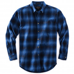 Fitted Lister Flannel Shirt  Blue Ombre