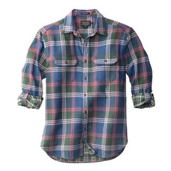 Fitted Fairbanks Shirt  Blue Rust & Green Plaid