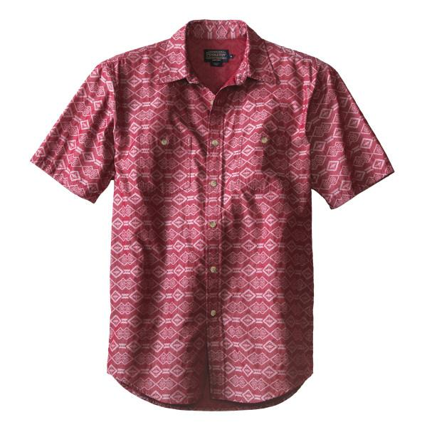 Short Sleeve Chambray Shirt <br> Red Jacquard