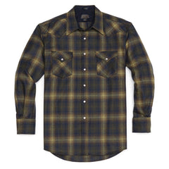 Fitted Canyon Shirt  Olive & Blue Ombre